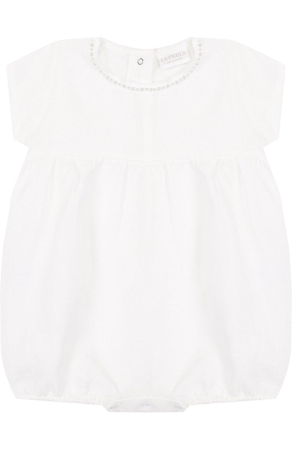 Детское льняной комплект из боди с пинетками LA PERLA белого цвета, арт. 48557   Фото 2