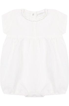 Детское льняной комплект из боди с пинетками LA PERLA белого цвета, арт. 48557 | Фото 2