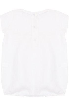 Детское льняной комплект из боди с пинетками LA PERLA белого цвета, арт. 48557   Фото 3