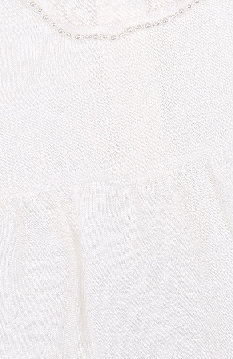 Детское льняной комплект из боди с пинетками LA PERLA белого цвета, арт. 48557   Фото 5