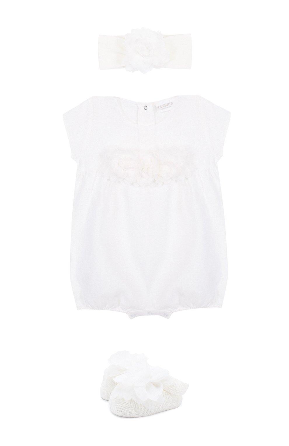 Детское льняной комплект из боди с повязкой на голову и пинетками LA PERLA белого цвета, арт. 48566 | Фото 1