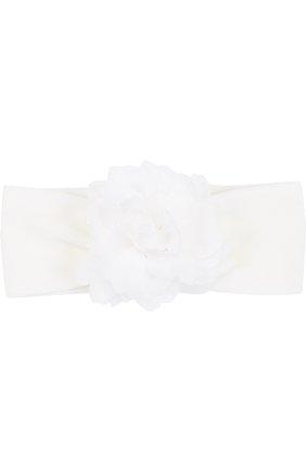 Детское льняной комплект из боди с повязкой на голову и пинетками LA PERLA белого цвета, арт. 48566 | Фото 5