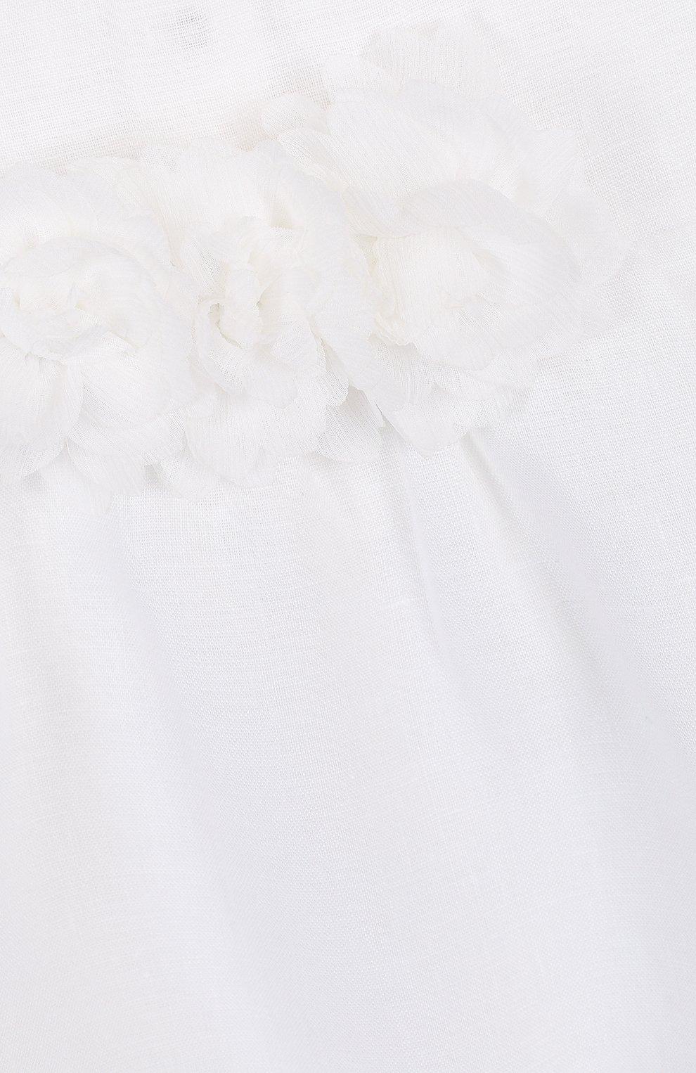 Детское льняной комплект из боди с повязкой на голову и пинетками LA PERLA белого цвета, арт. 48566 | Фото 6