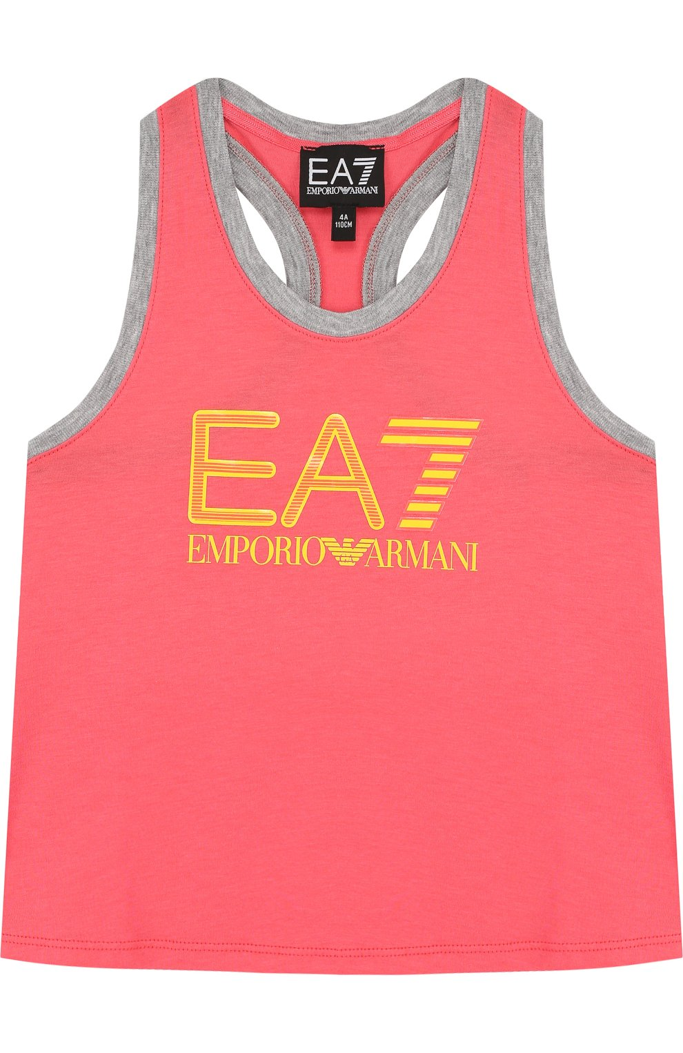 Детский хлопковая майка с логотипом бренда EA 7 розового цвета, арт. 3ZFH51/FJ22Z   Фото 1