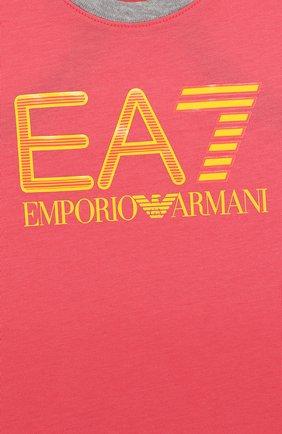 Детский хлопковая майка с логотипом бренда EA 7 розового цвета, арт. 3ZFH51/FJ22Z   Фото 3