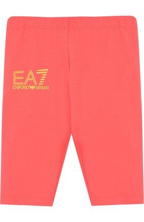Детские хлопковые брюки с логотипом бренда EA 7 розового цвета, арт. 3ZFP51/FJ01Z | Фото 1