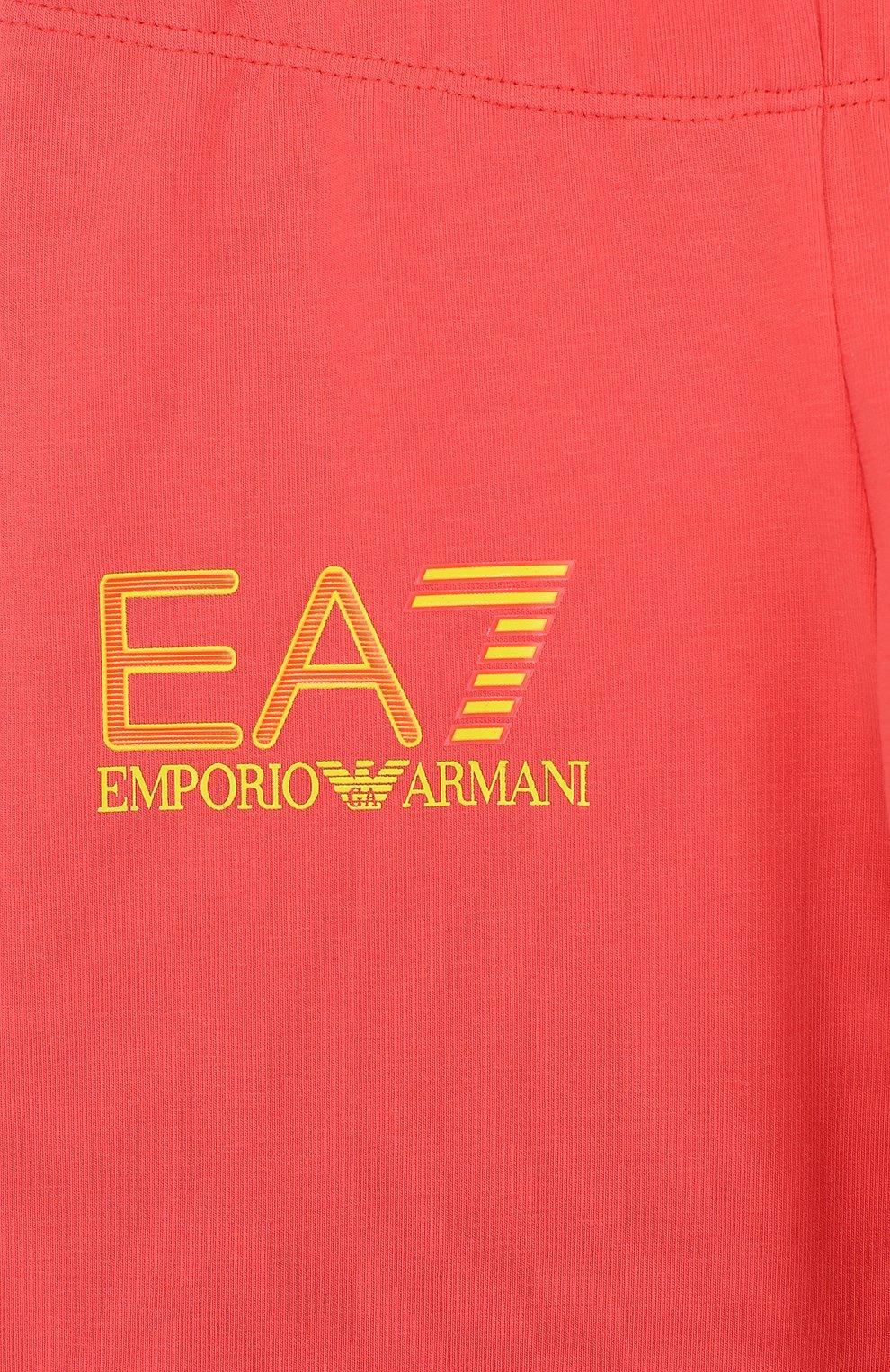 Детские хлопковые брюки с логотипом бренда EA 7 розового цвета, арт. 3ZFP51/FJ01Z | Фото 3