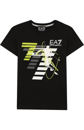 Детская хлопковая футболка с принтом EA 7 черного цвета, арт. 3ZBT64/BJA2Z   Фото 1