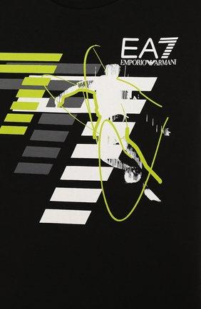 Детская хлопковая футболка с принтом EA 7 черного цвета, арт. 3ZBT64/BJA2Z   Фото 3