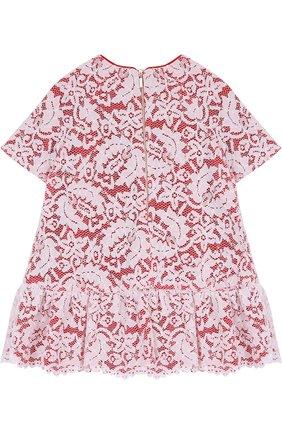 Детское хлопковое мини-платье с кружевной отделкой Quis Quis красного цвета | Фото №1