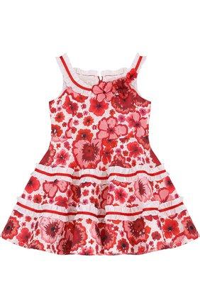 Детское хлопковое мини-платье с оборками и открытыми плечами Quis Quis белого цвета | Фото №1