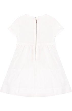 Детское хлопковое платье с вышивкой и аппликациями Quis Quis белого цвета | Фото №1