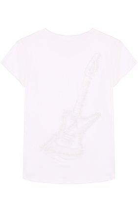 Детская хлопковая футболка с вышивкой на спине Zadig&Voltaire белого цвета | Фото №1