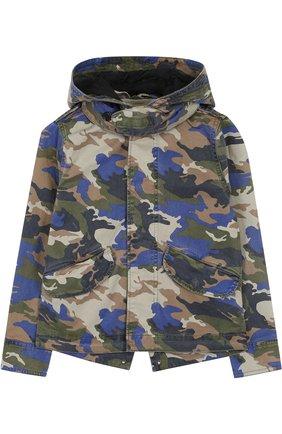 Хлопковая куртка с капюшоном и принтом | Фото №1