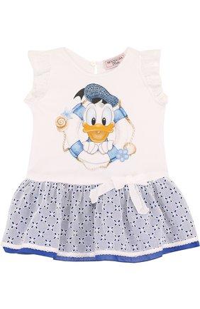 Хлопковое мини-платье с кружевной отделкой | Фото №1