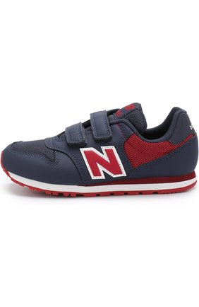 Детские комбинированные кроссовки 500 с застежкой велькро New Balance темно-синего цвета | Фото №1