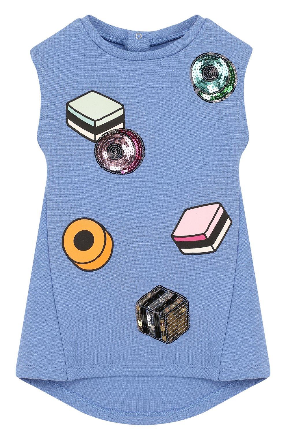Женская платье с принтом и отделкой пайетками MARC JACOBS (THE) голубого цвета, арт. W02109 | Фото 1