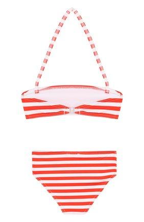 Раздельный купальник в полоску Stella Jean Kids красного цвета | Фото №1