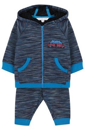 Детский хлопковый костюм из брюк и кардигана MARC JACOBS (THE) синего цвета, арт. W08054 | Фото 1