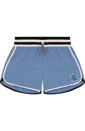 Детские шорты с поясом на кулиске Karl Lagerfeld Kids голубого цвета | Фото №1