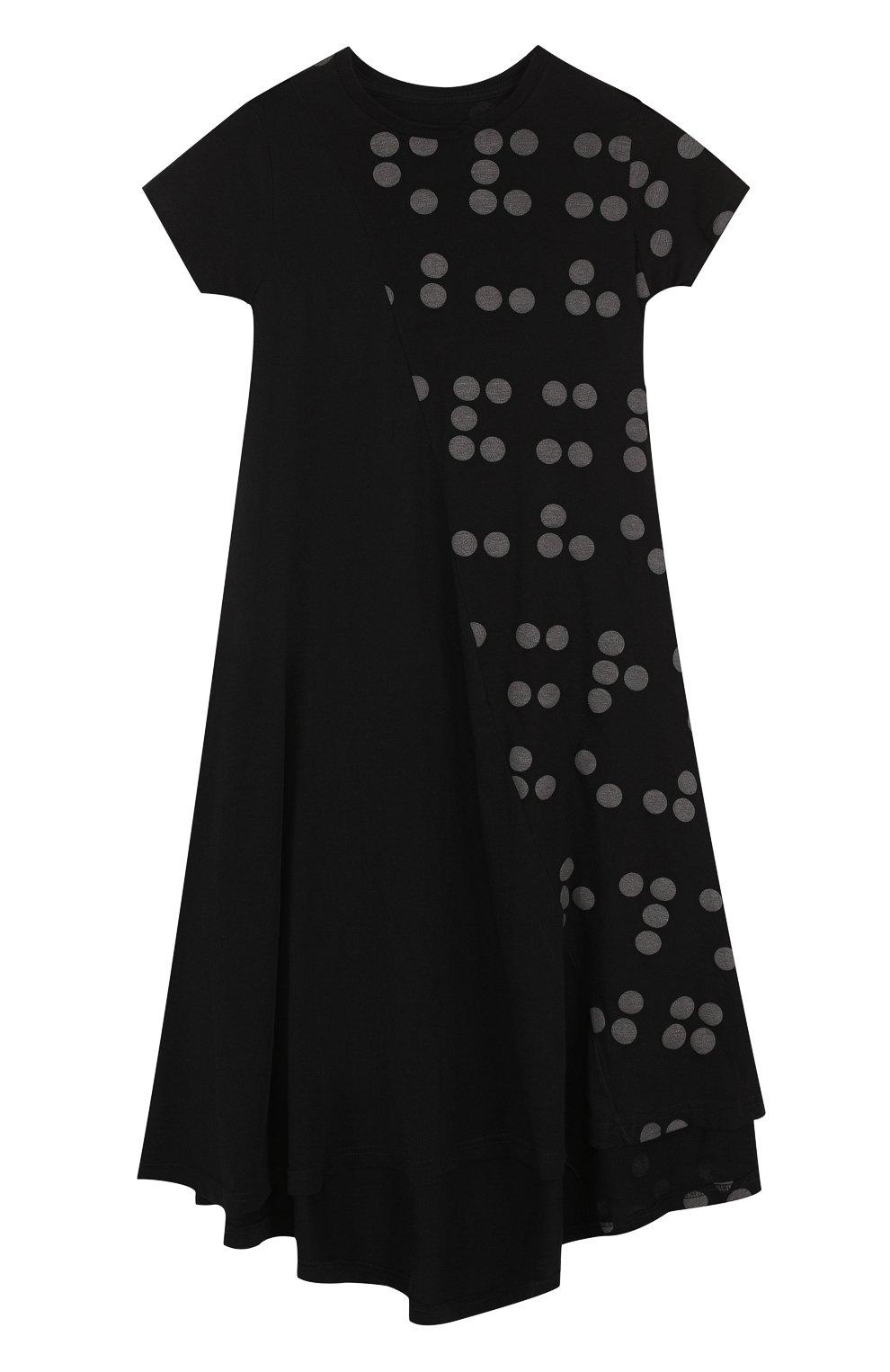 Детское хлопковое платье свободного кроя с принтом NUNUNU черного цвета, арт. NU1785B | Фото 1