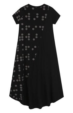 Детское хлопковое платье свободного кроя с принтом NUNUNU черного цвета, арт. NU1785B | Фото 2
