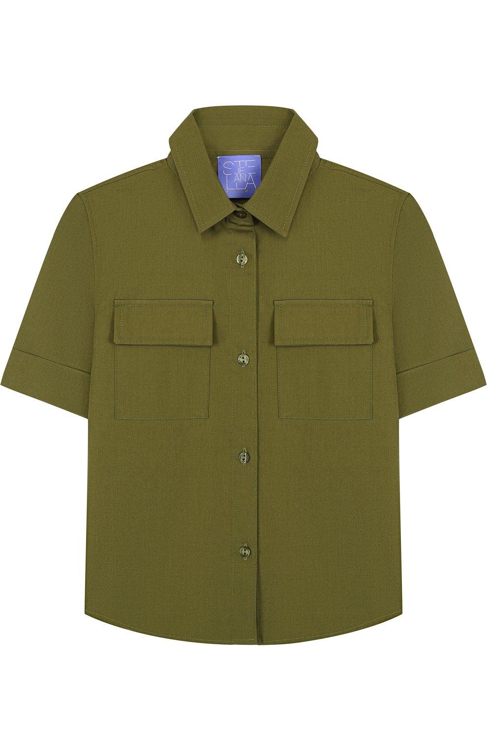 Детское хлопковая блуза прямого кроя с накладными карманами STELLA JEAN KIDS хаки цвета, арт. J/JF/CA23/0317/8A-14A   Фото 1