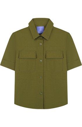 Хлопковая блуза прямого кроя с накладными карманами | Фото №1