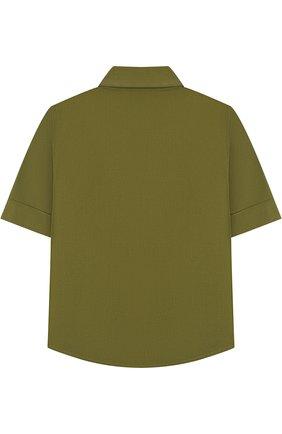 Детское хлопковая блуза прямого кроя с накладными карманами STELLA JEAN KIDS хаки цвета, арт. J/JF/CA23/0317/8A-14A   Фото 2