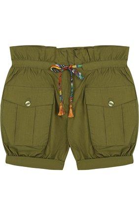 Хлопковые шорты с поясом на кулиске и накладными карманами | Фото №1