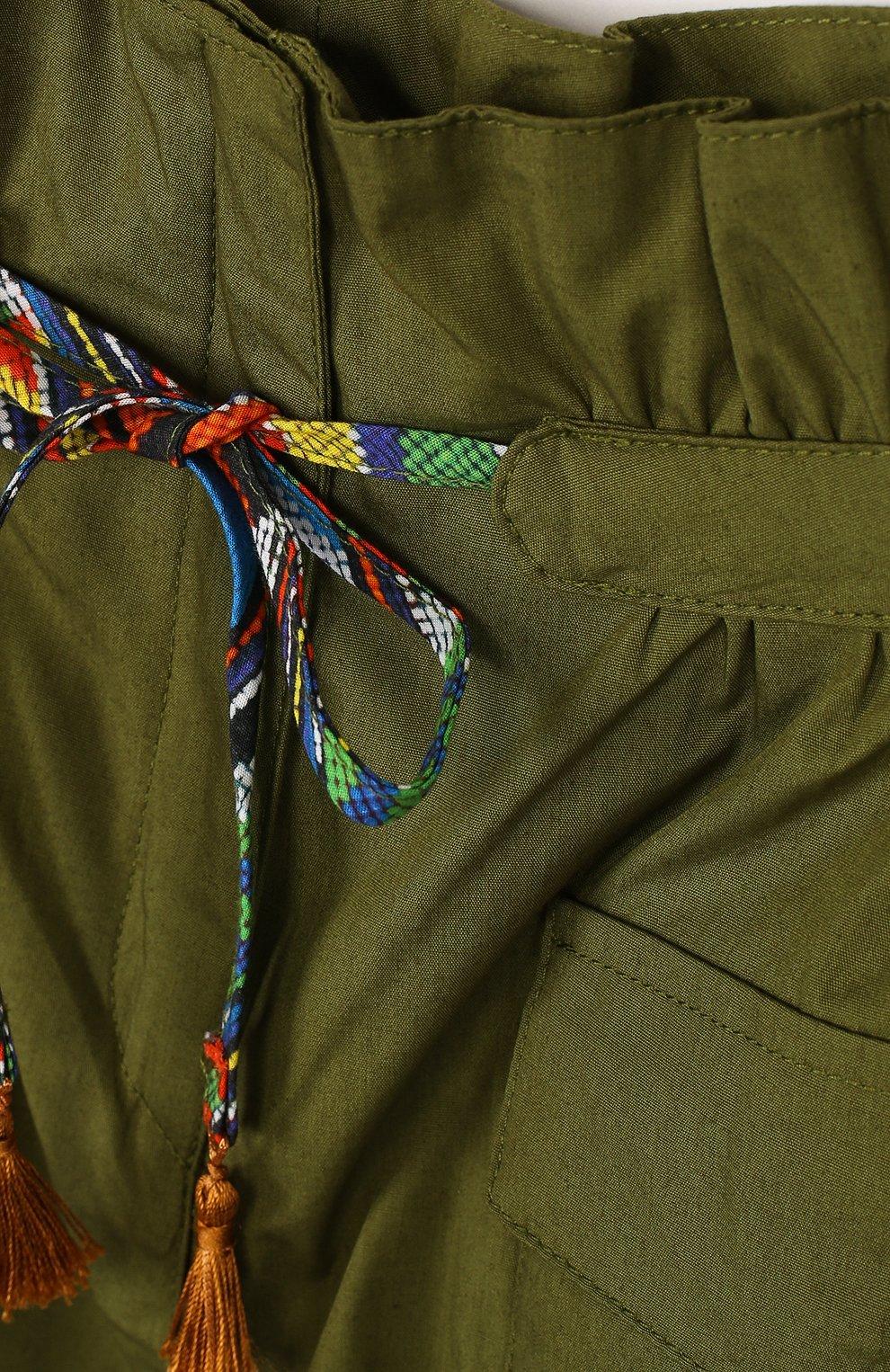 Детские хлопковые шорты с поясом на кулиске и накладными карманами STELLA JEAN KIDS хаки цвета, арт. J/JF/PC01/0317/4A-6A | Фото 3