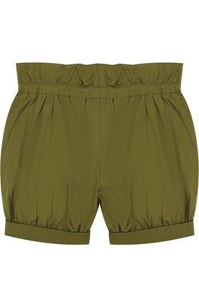 Хлопковые шорты с поясом на кулиске и накладными карманами | Фото №2