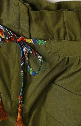 Хлопковые шорты с поясом на кулиске и накладными карманами | Фото №3