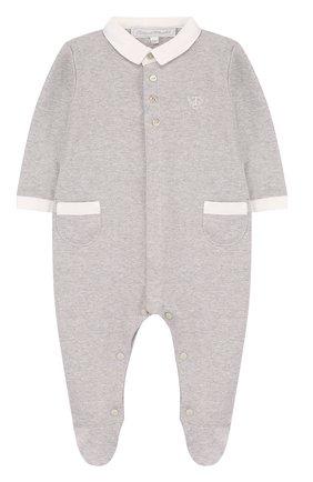Хлопковая пижама Tartine Et Chocolat серого цвета   Фото №1