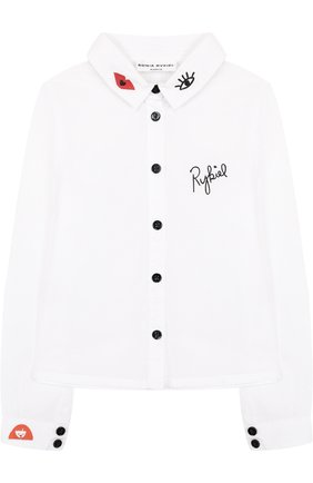 Хлопковая блуза с контрастной вышивкой | Фото №1