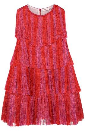 Мини-платье А-силуэта с бахромой | Фото №1