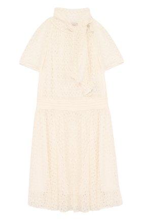 Детское кружевное платье с воротником аскот MISSONI белого цвета, арт. E18.BA.219590 | Фото 1