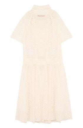 Детское кружевное платье с воротником аскот MISSONI белого цвета, арт. E18.BA.219590 | Фото 2
