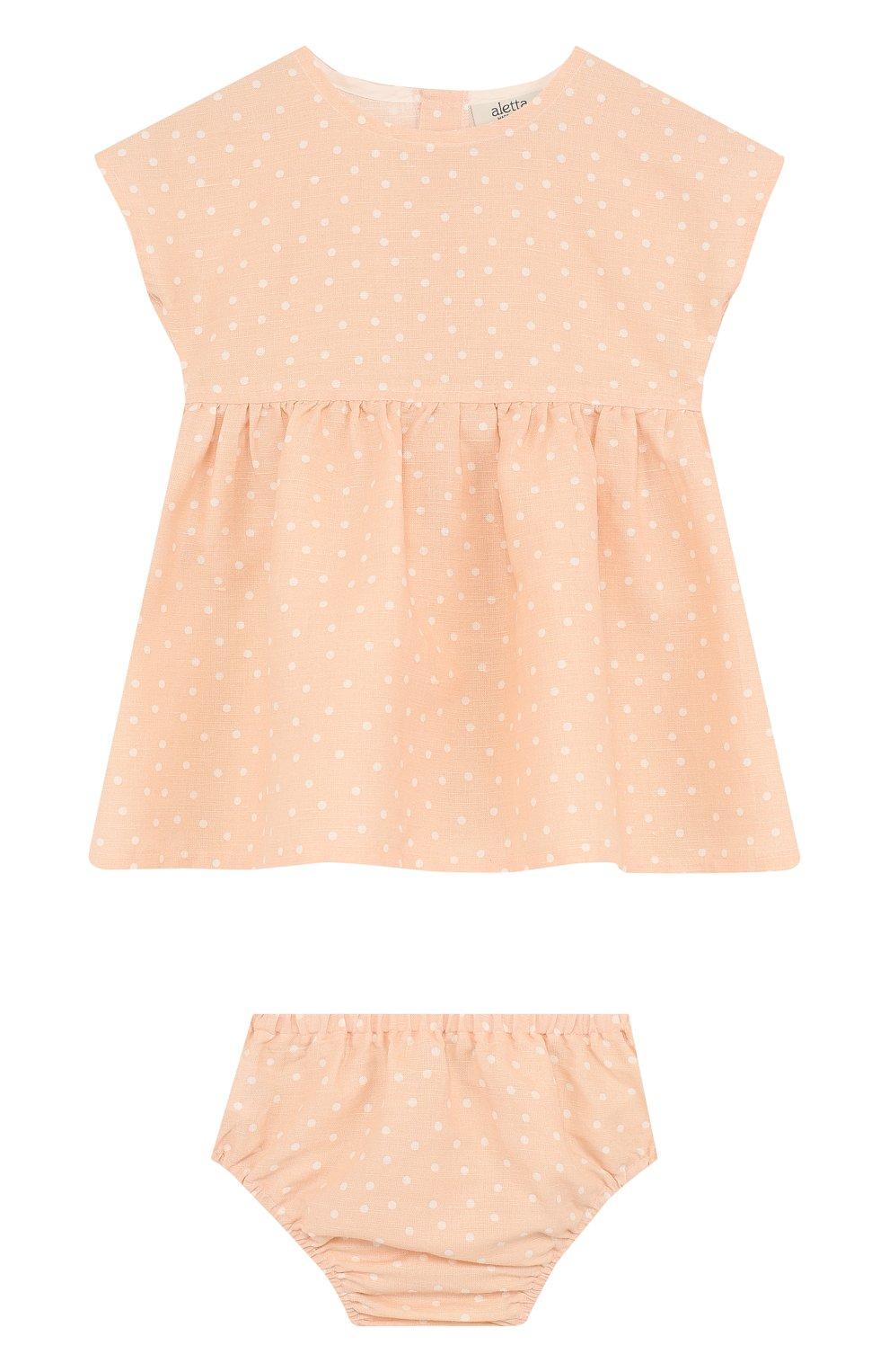 Женская комплект из платья и трусов ALETTA оранжевого цвета, арт. RW88638/1M-18M | Фото 1