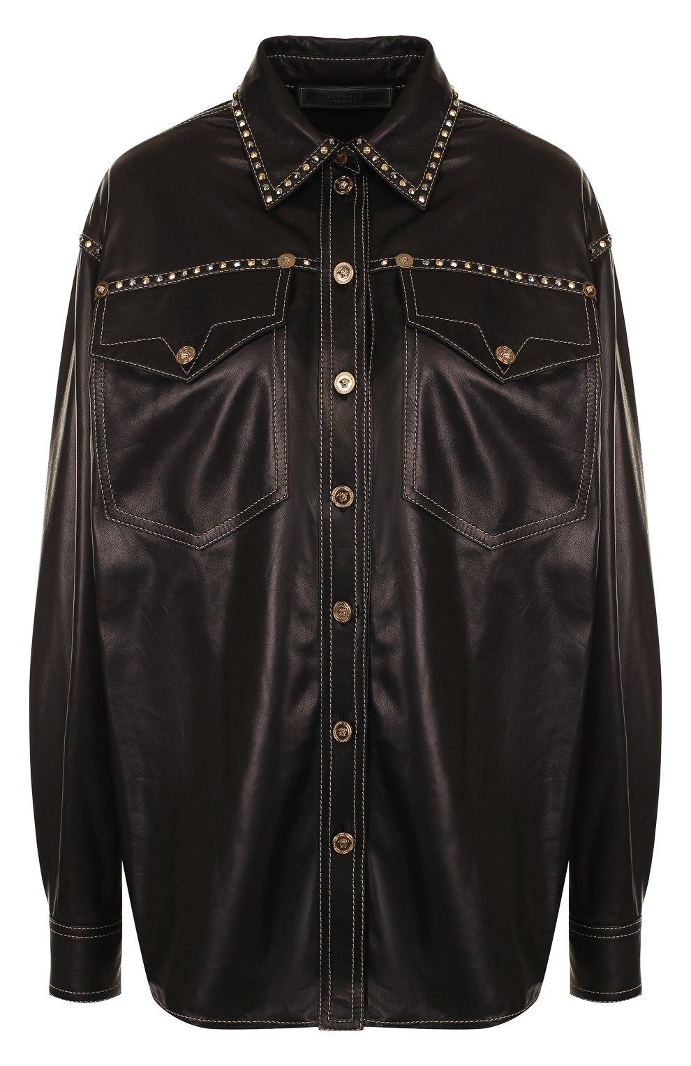 Кожаная блуза свободного кроя с накладными карманами | Фото №1