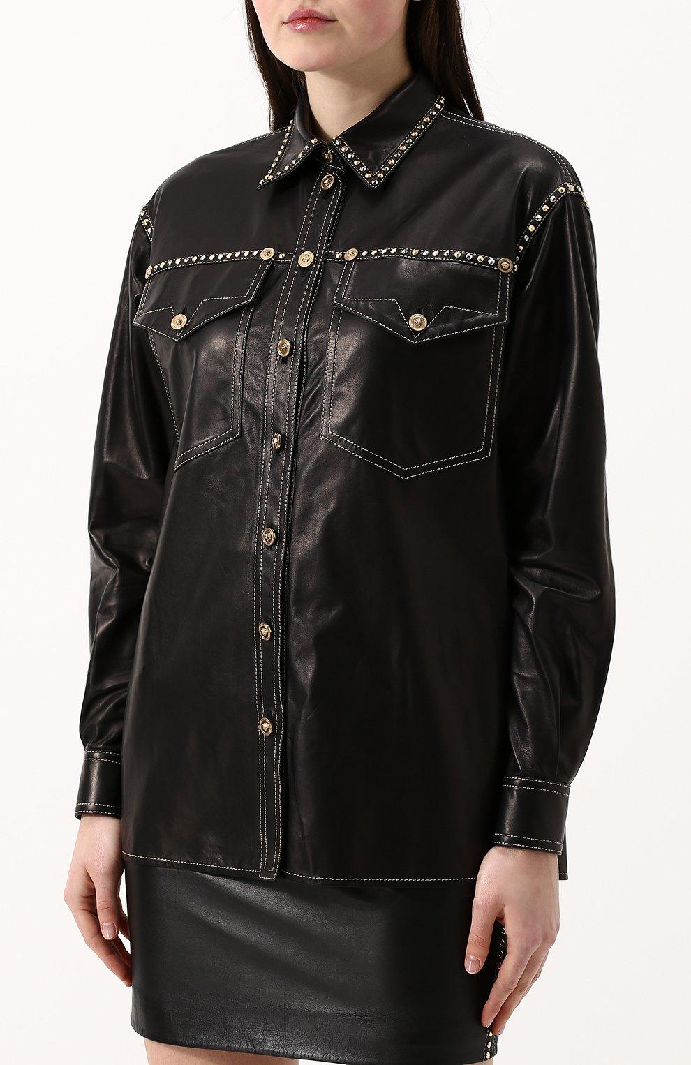 Кожаная блуза свободного кроя с накладными карманами | Фото №3
