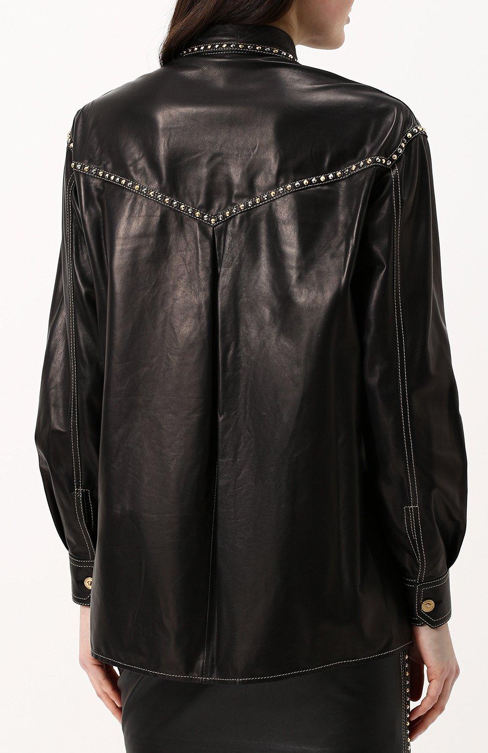 Кожаная блуза свободного кроя с накладными карманами | Фото №4