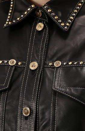 Кожаная блуза свободного кроя с накладными карманами | Фото №5