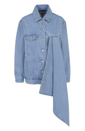 Джинсовая куртка свободного кроя с оборкой Victoria/Tomas голубая   Фото №1