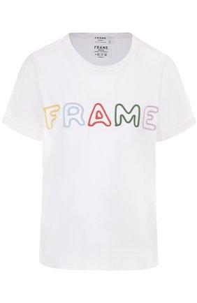 Хлопковая футболка свободного кроя с контрастной вышивкой   Фото №1
