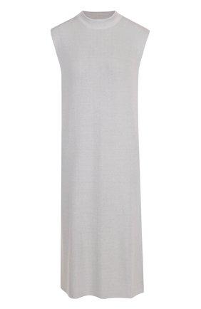 Однотонное вязаное платье свободного кроя JM Studio голубое | Фото №1