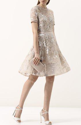 Приталенное мини-платье с вышивкой Elie Saab коралловое | Фото №1