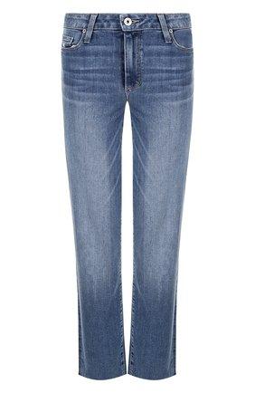 Укороченные джинсы прямого кроя с потертостями Paige синие   Фото №1