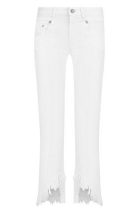 Укороченные брюки с потертостями R13 белые   Фото №1
