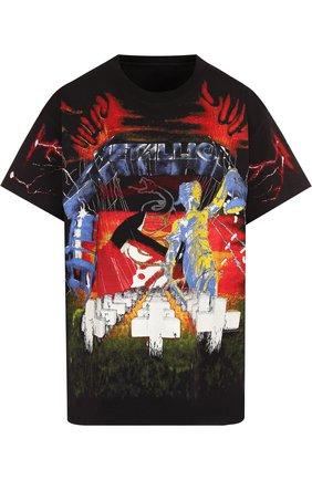 Хлопковая футболка свободного кроя с принтом R13 черная   Фото №1